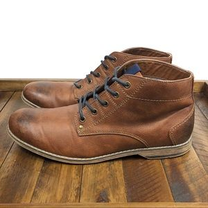 H&M Brown Boots Blue Laces Size 10.5
